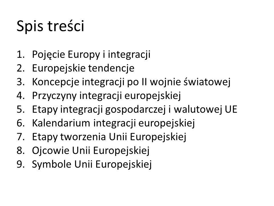 Spis treści 1.Pojęcie Europy i integracji 2.Europejskie tendencje 3.Koncepcje integracji po II wojnie światowej 4.Przyczyny integracji europejskiej 5.