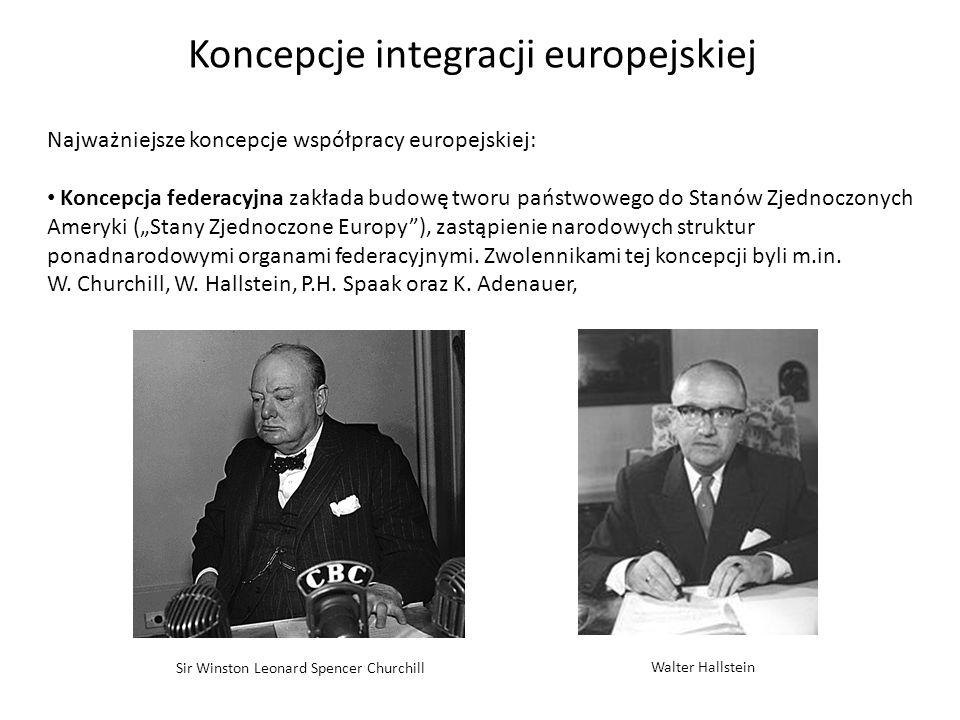 Najważniejsze koncepcje współpracy europejskiej: Koncepcja federacyjna zakłada budowę tworu państwowego do Stanów Zjednoczonych Ameryki (Stany Zjednoc
