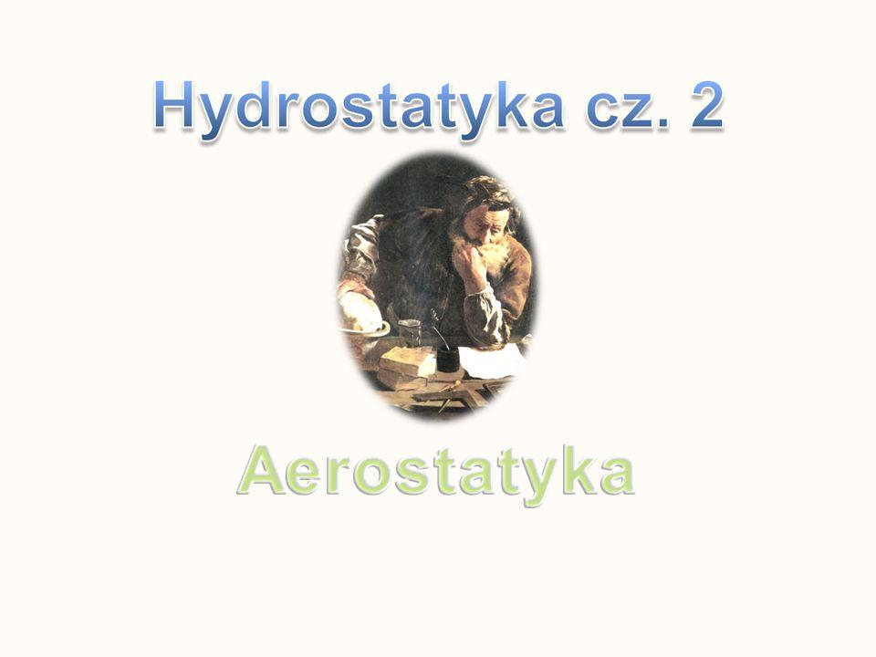 1.Naczynie jest wypełnione cieczą o gęstości ϱ c 2.Na górną powierzchnię działa siła parcia cieczy P 1 = ϱ c h 1 g S – zwrot w dół 3.Na dolną powierzchnię działa siła parcia P 2 = ϱ c h 2 g S – zwrot do góry Wypadkowa tych sił nazwana jest siłą wyporu Fw S to pole podstawy zanurzonego prostopadłościanu h = h 2 – h 1 to wysokość prostopadłościanu czyli h S = V – objętość prostopadłościanu Pamiętajmy, że objętość wypartej cieczy równa jest objętości zanurzonego w niej ciała !!!