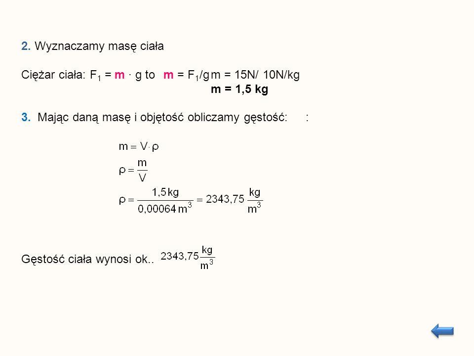 2. Wyznaczamy masę ciała Ciężar ciała: F 1 = m g to m = F 1 /gm = 15N/ 10N/kg m = 1,5 kg 3.