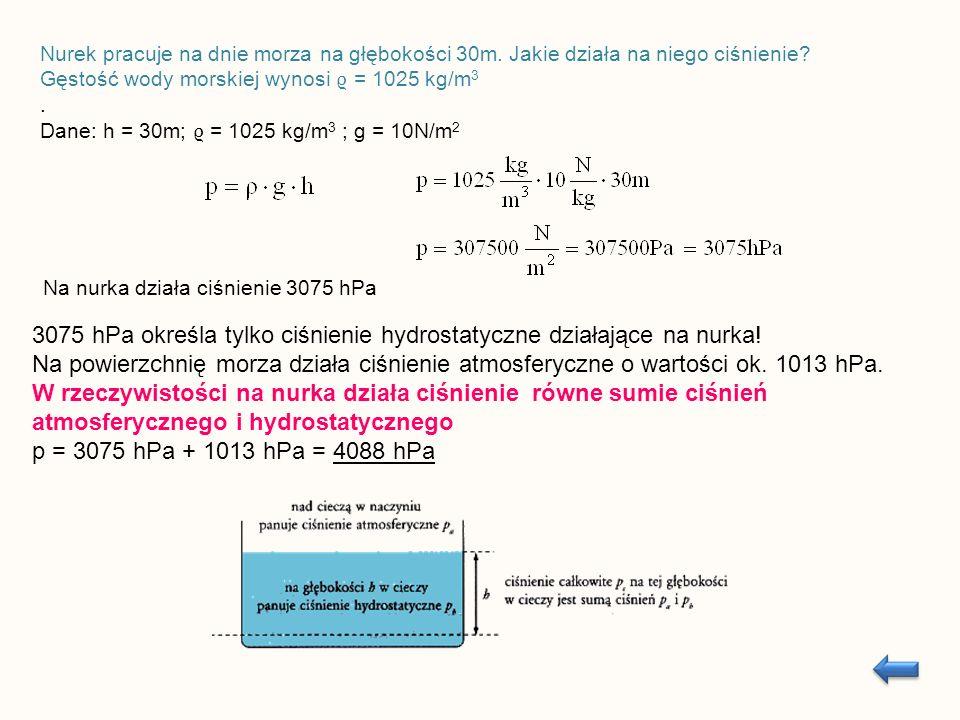 Ciało w kształcie kulki zawieszamy na wadze sprężynowej i odczytujemy wartość jego ciężaru F 1 = 15 N.