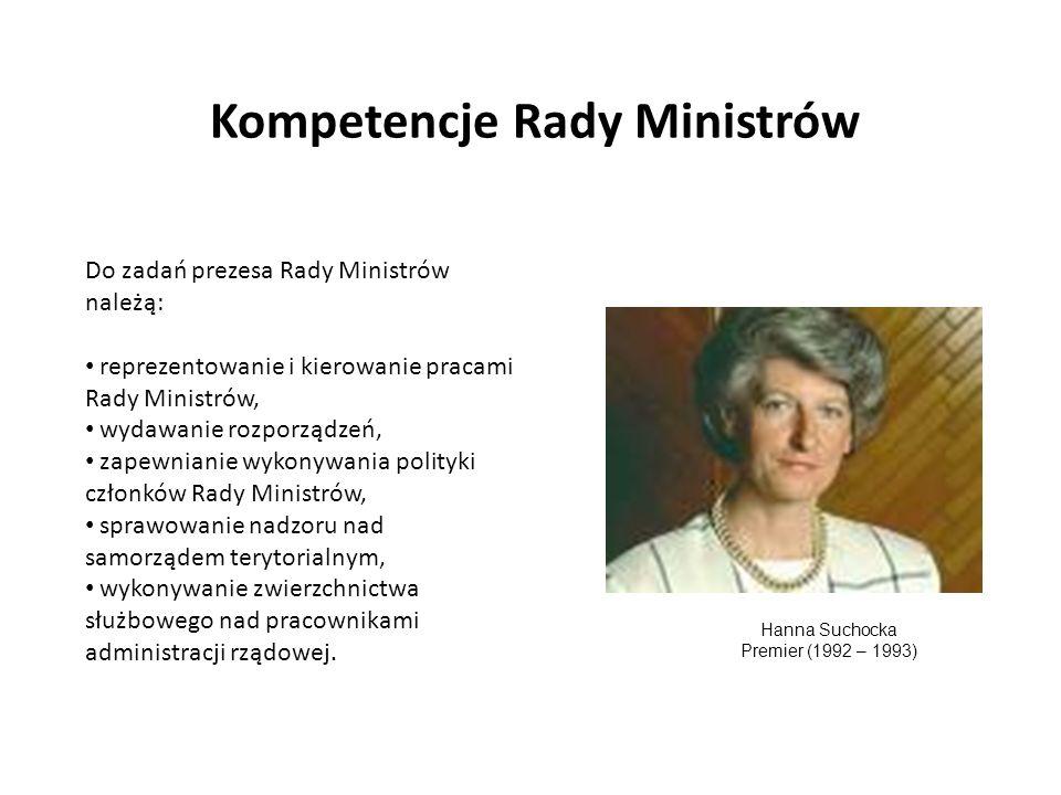 Kompetencje Rady Ministrów Do zadań prezesa Rady Ministrów należą: reprezentowanie i kierowanie pracami Rady Ministrów, wydawanie rozporządzeń, zapewn