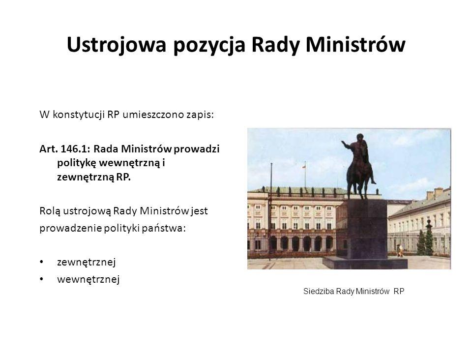 Ustrojowa pozycja Rady Ministrów W konstytucji RP umieszczono zapis: Art. 146.1: Rada Ministrów prowadzi politykę wewnętrzną i zewnętrzną RP. Rolą ust