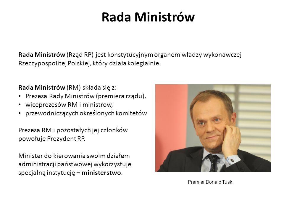 Rada Ministrów Rada Ministrów (RM) składa się z: Prezesa Rady Ministrów (premiera rządu), wiceprezesów RM i ministrów, przewodniczących określonych ko
