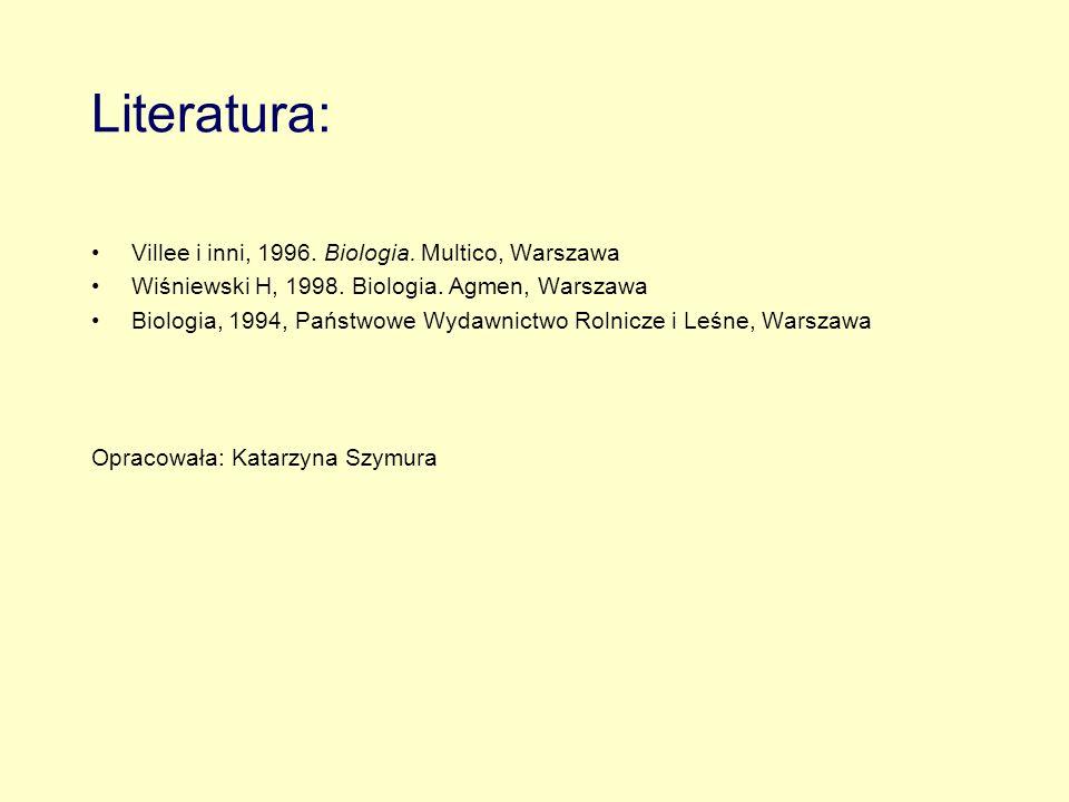 Literatura: Villee i inni, 1996. Biologia. Multico, Warszawa Wiśniewski H, 1998. Biologia. Agmen, Warszawa Biologia, 1994, Państwowe Wydawnictwo Rolni