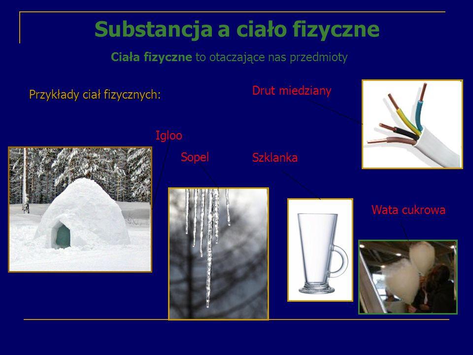 Substancja - materiał z którego jest zbudowane ciało fizyczne Ciała fizyczneSubstancje igloowoda sopelwoda szklankaszkło drut miedzianymiedź wata cukrowacukier