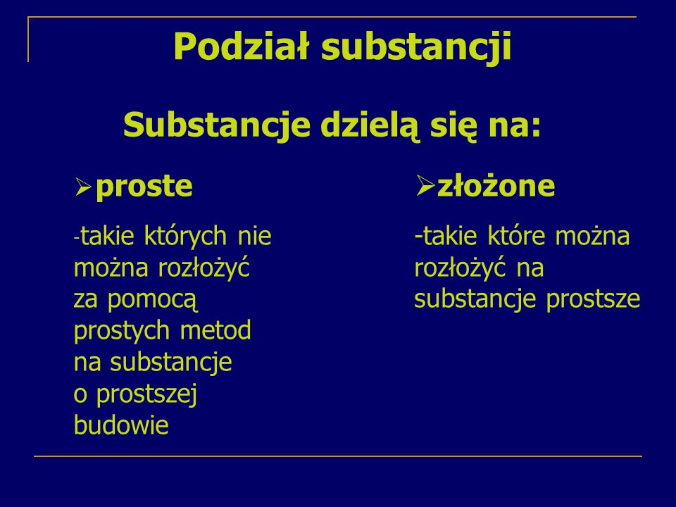 Substancja złożona- tlenek żelaza (III) Substancja prosta - jod Substancje proste to pierwiastki chemiczne, a substancje złożone to związki chemiczne