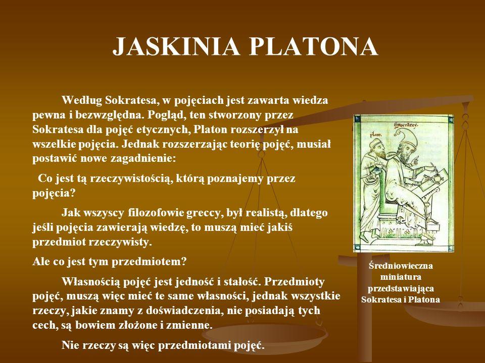 JASKINIA PLATONA Według Sokratesa, w pojęciach jest zawarta wiedza pewna i bezwzględna. Pogląd, ten stworzony przez Sokratesa dla pojęć etycznych, Pla