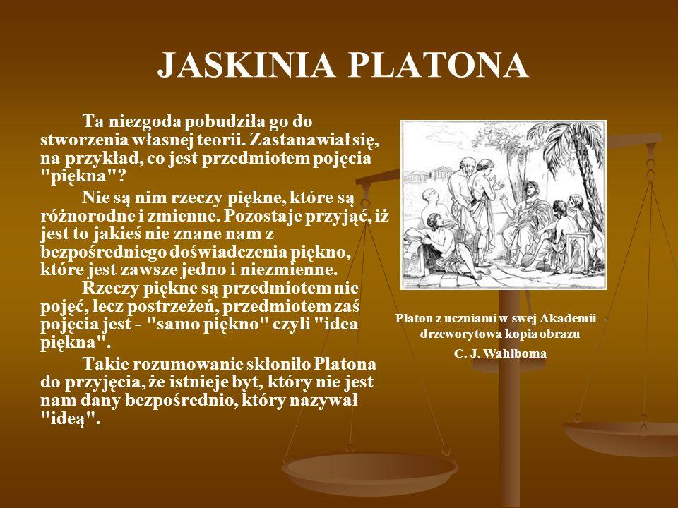 JASKINIA PLATONA Ta niezgoda pobudziła go do stworzenia własnej teorii. Zastanawiał się, na przykład, co jest przedmiotem pojęcia