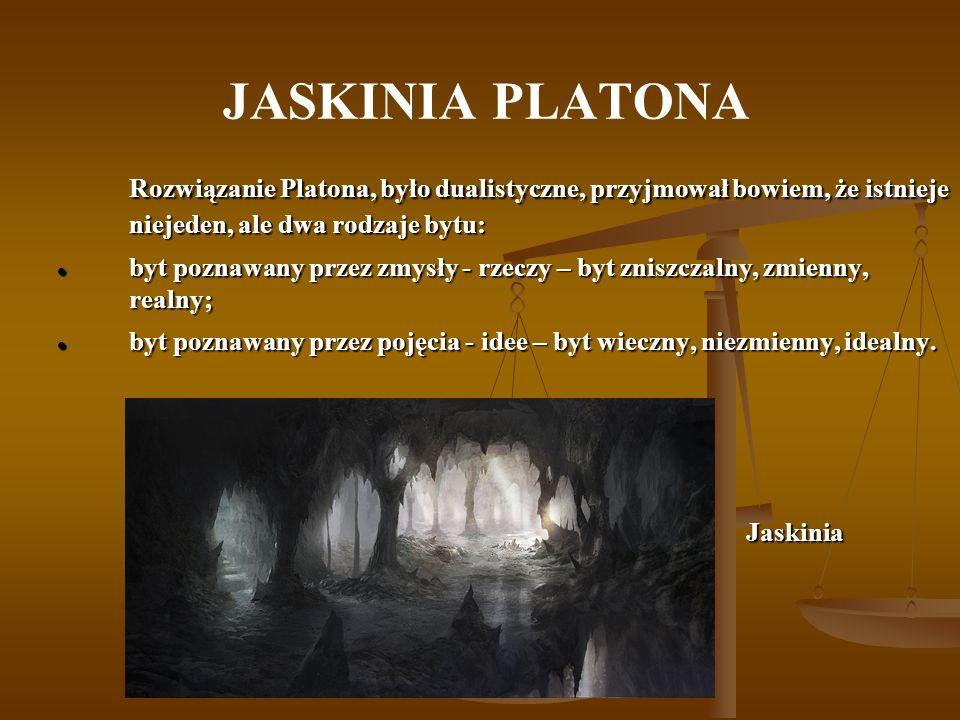 JASKINIA PLATONA Rozwiązanie Platona, było dualistyczne, przyjmował bowiem, że istnieje niejeden, ale dwa rodzaje bytu: Rozwiązanie Platona, było dual