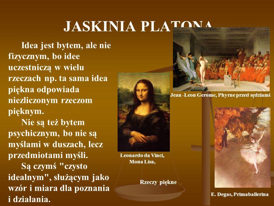 JASKINIA PLATONA Jean -Leon Gerome, Phyrne przed sędziami Idea jest bytem, ale nie fizycznym, bo idee uczestniczą w wielu rzeczach np. ta sama idea pi