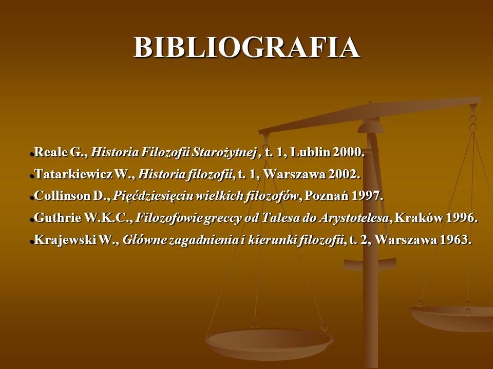 BIBLIOGRAFIA Reale G., Historia Filozofii Starożytnej, t. 1, Lublin 2000. Reale G., Historia Filozofii Starożytnej, t. 1, Lublin 2000. Tatarkiewicz W.