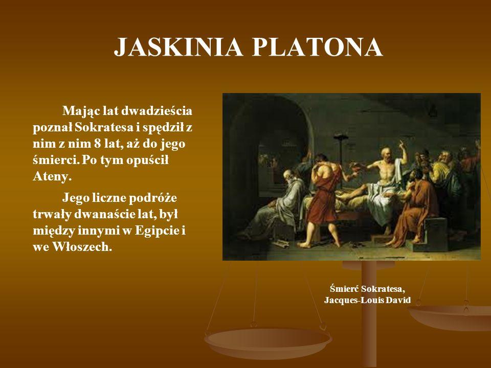 JASKINIA PLATONA Mając lat dwadzieścia poznał Sokratesa i spędził z nim z nim 8 lat, aż do jego śmierci. Po tym opuścił Ateny. Jego liczne podróże trw