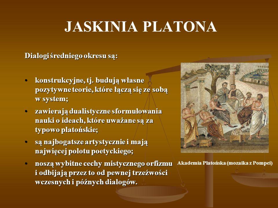 JASKINIA PLATONA Dialogi średniego okresu są: konstrukcyjne, tj. budują własne pozytywne teorie, które łączą się ze sobą w system;konstrukcyjne, tj. b