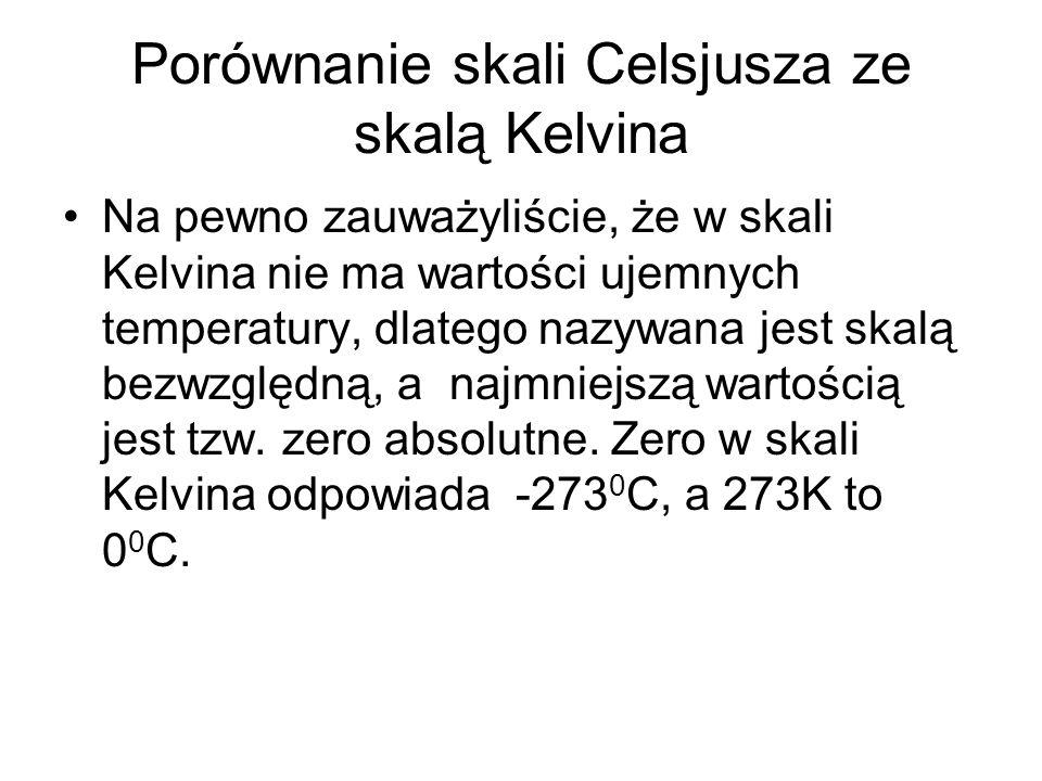 Na pewno zauważyliście, że w skali Kelvina nie ma wartości ujemnych temperatury, dlatego nazywana jest skalą bezwzględną, a najmniejszą wartością jest