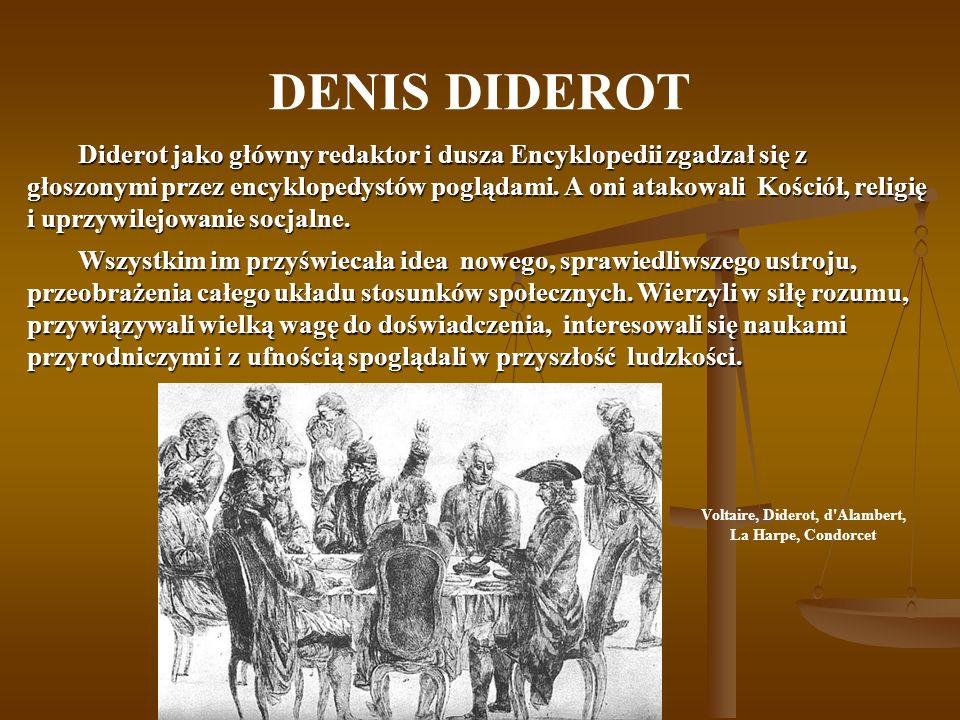 DENIS DIDEROT Diderot jako główny redaktor i dusza Encyklopedii zgadzał się z głoszonymi przez encyklopedystów poglądami. A oni atakowali Kościół, rel