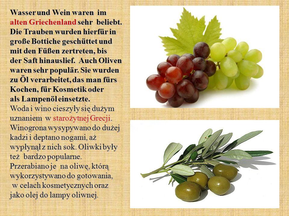 Wasser und Wein waren im alten Griechenland sehr beliebt. Die Trauben wurden hierfür in große Bottiche geschüttet und mit den Füßen zertreten, bis der