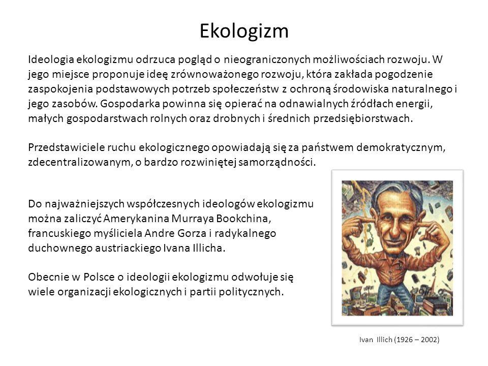 Ekologizm Ideologia ekologizmu odrzuca pogląd o nieograniczonych możliwościach rozwoju. W jego miejsce proponuje ideę zrównoważonego rozwoju, która za