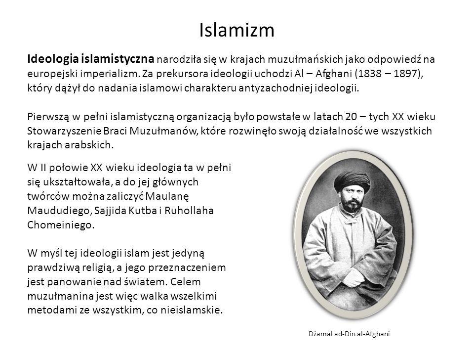 Islamizm Ideologia islamistyczna narodziła się w krajach muzułmańskich jako odpowiedź na europejski imperializm. Za prekursora ideologii uchodzi Al –