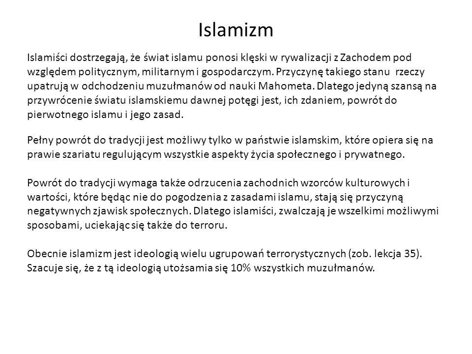 Islamizm Islamiści dostrzegają, że świat islamu ponosi klęski w rywalizacji z Zachodem pod względem politycznym, militarnym i gospodarczym. Przyczynę