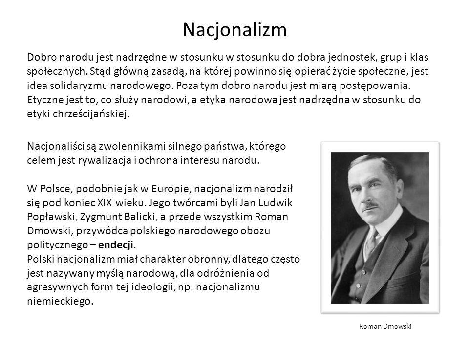 Nacjonalizm Dobro narodu jest nadrzędne w stosunku w stosunku do dobra jednostek, grup i klas społecznych. Stąd główną zasadą, na której powinno się o