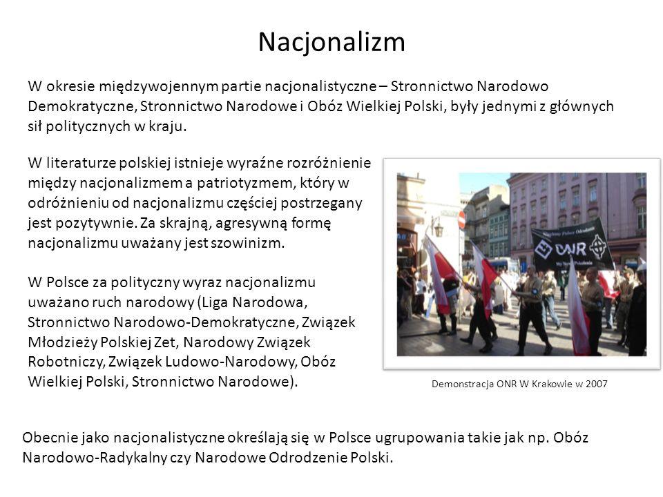 Nacjonalizm W okresie międzywojennym partie nacjonalistyczne – Stronnictwo Narodowo Demokratyczne, Stronnictwo Narodowe i Obóz Wielkiej Polski, były j