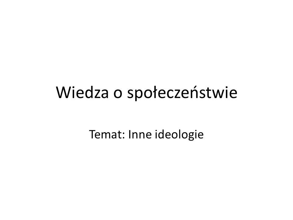Wiedza o społeczeństwie Temat: Inne ideologie