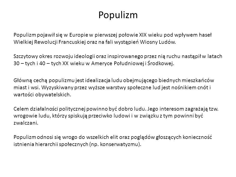 Populizm Populizm pojawił się w Europie w pierwszej połowie XIX wieku pod wpływem haseł Wielkiej Rewolucji Francuskiej oraz na fali wystąpień Wiosny L