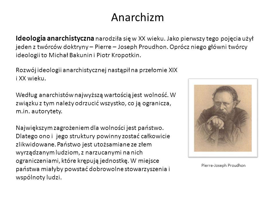 Anarchizm Ideologia anarchistyczna narodziła się w XX wieku. Jako pierwszy tego pojęcia użył jeden z twórców doktryny – Pierre – Joseph Proudhon. Opró
