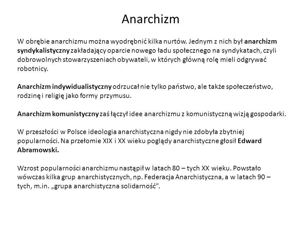 Anarchizm W obrębie anarchizmu można wyodrębnić kilka nurtów. Jednym z nich był anarchizm syndykalistyczny zakładający oparcie nowego ładu społecznego