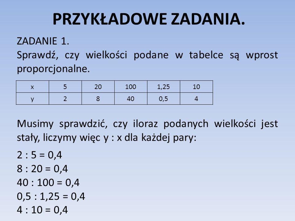 PRZYKŁADOWE ZADANIA.ZADANIE 1. Sprawdź, czy wielkości podane w tabelce są wprost proporcjonalne.
