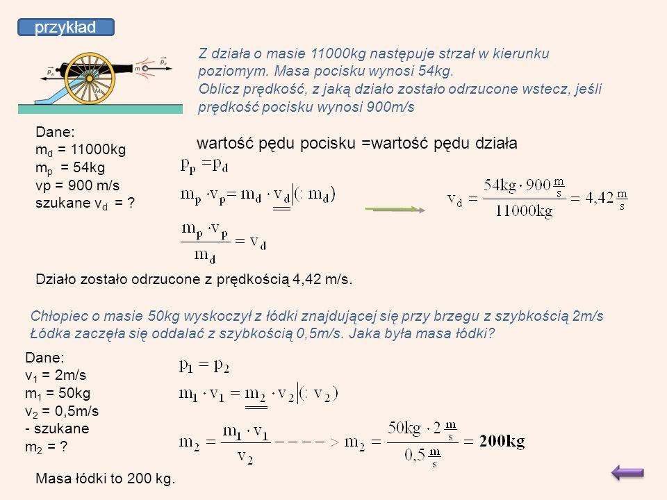 przykład Z działa o masie 11000kg następuje strzał w kierunku poziomym.