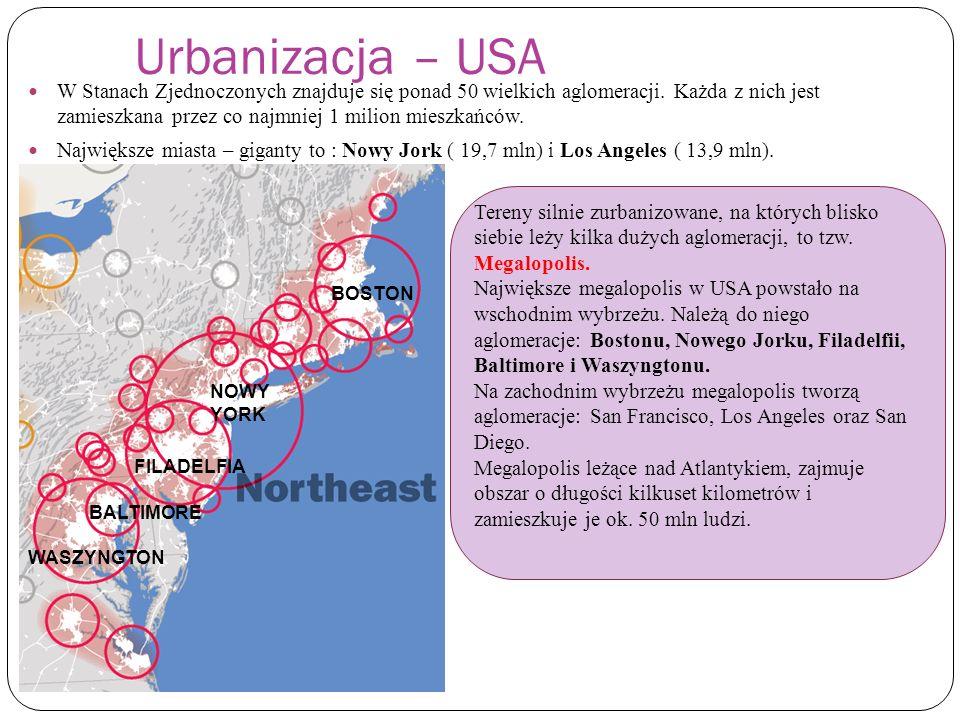 Urbanizacja – USA W Stanach Zjednoczonych znajduje się ponad 50 wielkich aglomeracji. Każda z nich jest zamieszkana przez co najmniej 1 milion mieszka