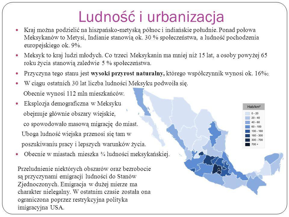 Ludność i urbanizacja Kraj można podzielić na hiszpańsko-metyską północ i indiańskie południe. Ponad połowa Meksykanów to Metysi, Indianie stanowią ok