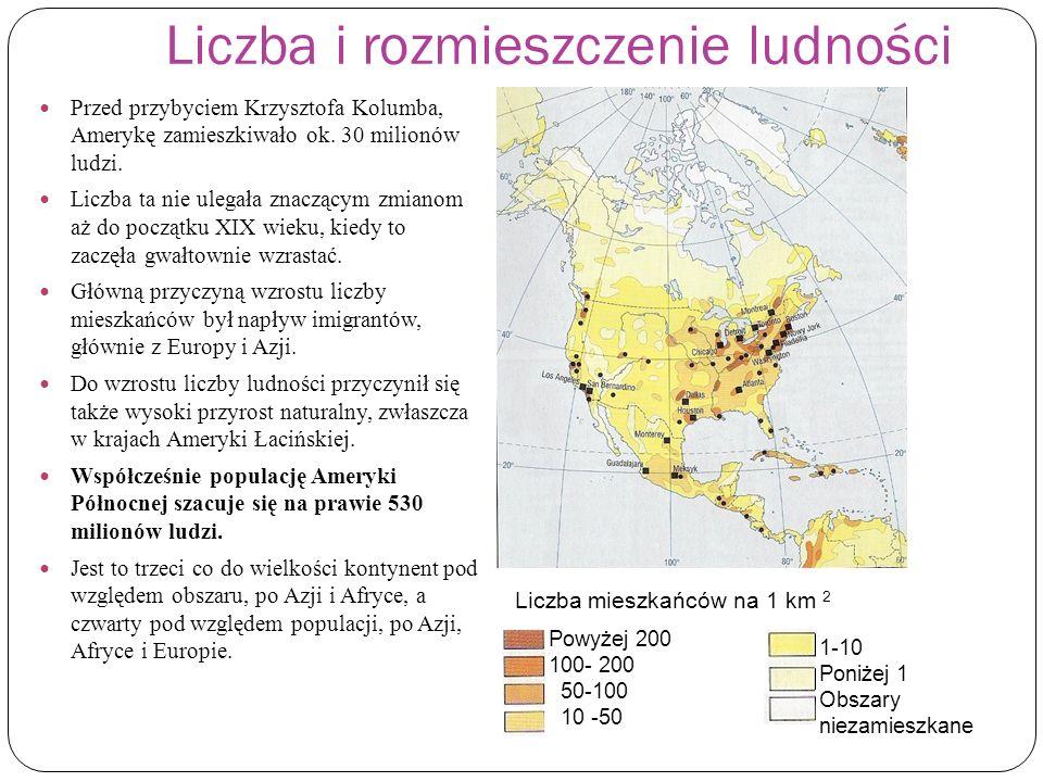 Liczba i rozmieszczenie ludności Przed przybyciem Krzysztofa Kolumba, Amerykę zamieszkiwało ok. 30 milionów ludzi. Liczba ta nie ulegała znaczącym zmi