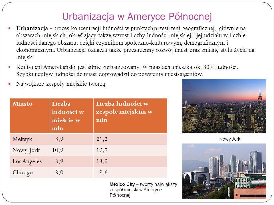 Urbanizacja w Ameryce Północnej Urbanizacja - proces koncentracji ludności w punktach przestrzeni geograficznej, głównie na obszarach miejskich, okreś