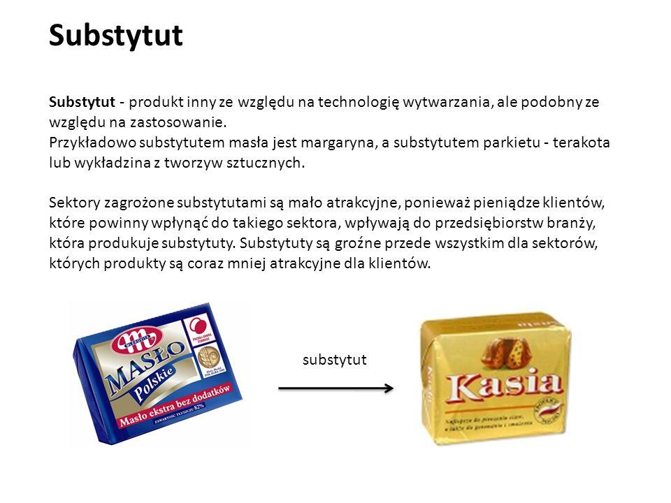 Substytut - produkt inny ze względu na technologię wytwarzania, ale podobny ze względu na zastosowanie.