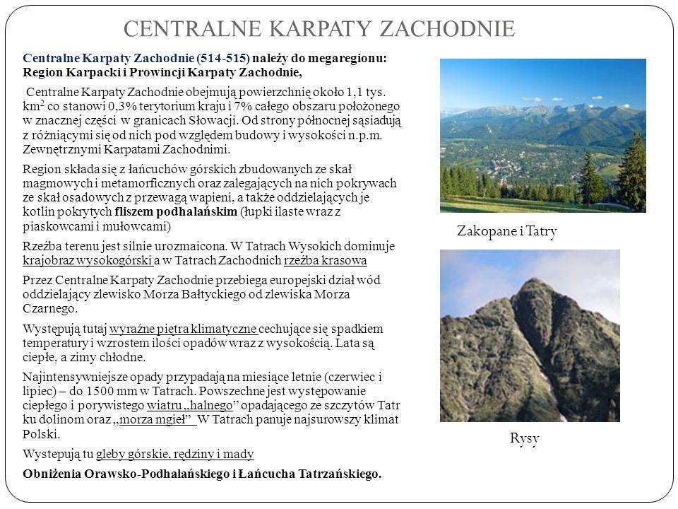 CENTRALNE KARPATY ZACHODNIE Centralne Karpaty Zachodnie (514-515) należy do megaregionu: Region Karpacki i Prowincji Karpaty Zachodnie, Centralne Karp