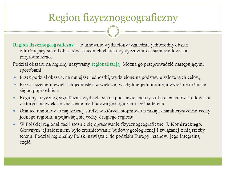 Jednostki podziału fizycznogeograficznego Według uniwersalnej klasyfikacji dziesiętnej Międzynarodowej Federacji Dokumentacyjnej (FDI) wyróżniono: obszary fizycznogeograficzne podobszary prowincje podprowincje makroregiony mezoregiony mikroregiony Na terenie Polski wyróżniono: 1) 2 obszary fizycznogeograficzne (Europa Zachodnia, Europa Wschodnia), 2) 3 podobszary (Pozaalpejska Europa Środkowa, Karpaty, Podkarpacie i kotliny wewnętrzne, Niż Wschodnioeuropejski), 3) 7 prowincji (np.: Niż Środkowoeuropejski, Masyw Czeski, Wyżyna Małopolska, Wyżyny Ukraińskie), 4) 18 podprowincji (np.: Pobrzeża Południowobałtyckie, Niziny Środkowopolskie, Podkarpacie Północne, Polesie), 5) 56 makroregionów (np.: Pobrzeże Szczecińskie, Wał Trzebnicki, Wyżyna Śląska, Beskidy Zachodnie), 6) 318 mezoregionów (np.: Mierzeja Wiślana, Pojezierze Iławskie, Płaskowyż Nałęczowski, Gorce).