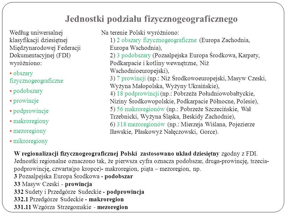 Jednostki podziału fizycznogeograficznego Według uniwersalnej klasyfikacji dziesiętnej Międzynarodowej Federacji Dokumentacyjnej (FDI) wyróżniono: obs