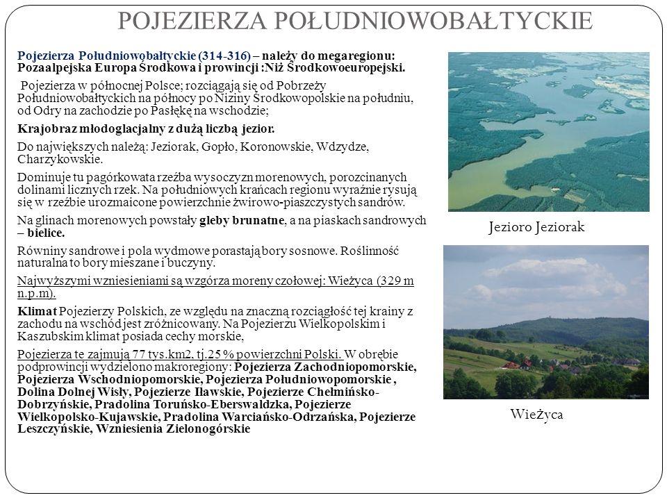 POJEZIERZA POŁUDNIOWOBAŁTYCKIE Pojezierza Południowobałtyckie (314-316) – należy do megaregionu: Pozaalpejska Europa Środkowa i prowincji :Niż Środkow