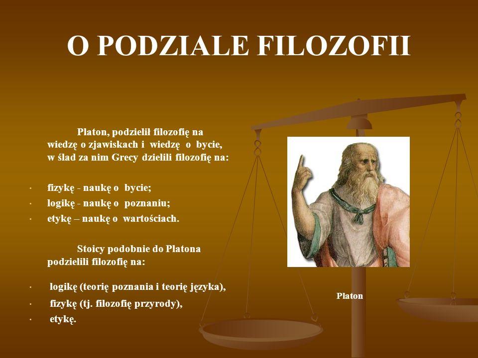 O PODZIALE FILOZOFII Platon, podzielił filozofię na wiedzę o zjawiskach i wiedzę o bycie, w ślad za nim Grecy dzielili filozofię na: fizykę - naukę o