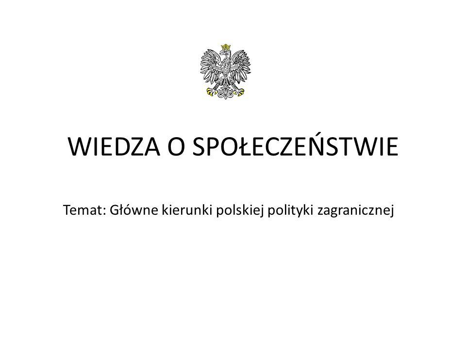 WIEDZA O SPOŁECZEŃSTWIE Temat: Główne kierunki polskiej polityki zagranicznej