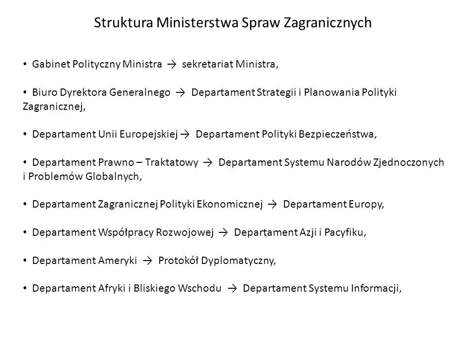 Struktura Ministerstwa Spraw Zagranicznych Gabinet Polityczny Ministra sekretariat Ministra, Biuro Dyrektora Generalnego Departament Strategii i Plano
