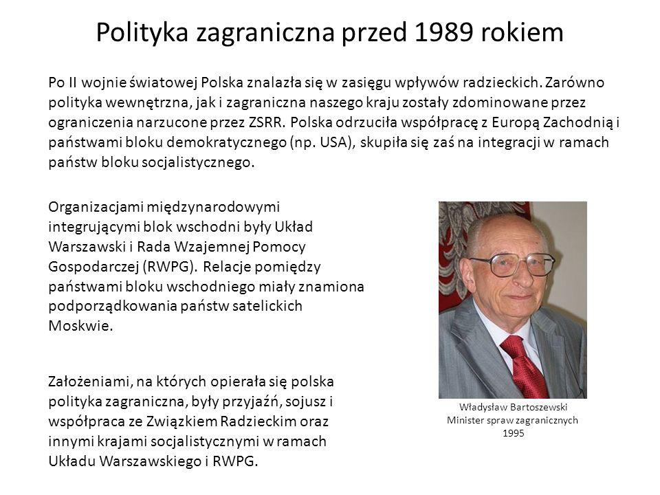 Polityka zagraniczna przed 1989 rokiem Po II wojnie światowej Polska znalazła się w zasięgu wpływów radzieckich. Zarówno polityka wewnętrzna, jak i za