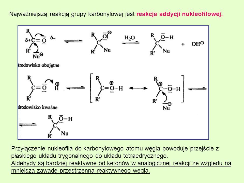 Najważniejszą reakcją grupy karbonylowej jest reakcja addycji nukleofilowej. Przyłączenie nukleofila do karbonylowego atomu węgla powoduje przejście z