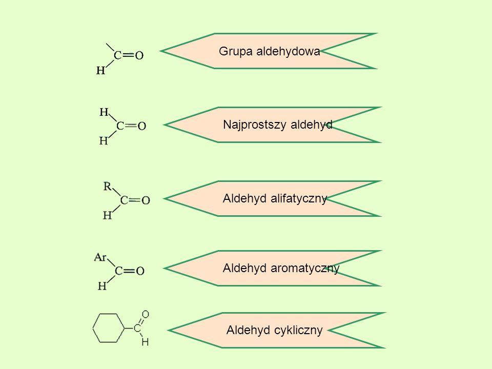 Aldehydy nienasycone Przedstawicielem tego szeregu homologicznego jest akroleina (aldehyd akrylowy, propenal, którą otrzymuje się przez odwodornienie gliceryny: Aldehydy aromatyczne Do aldehydów aromatycznych należą związki, które zawierają grupę –CHO w pierścieniu aromatycznym.