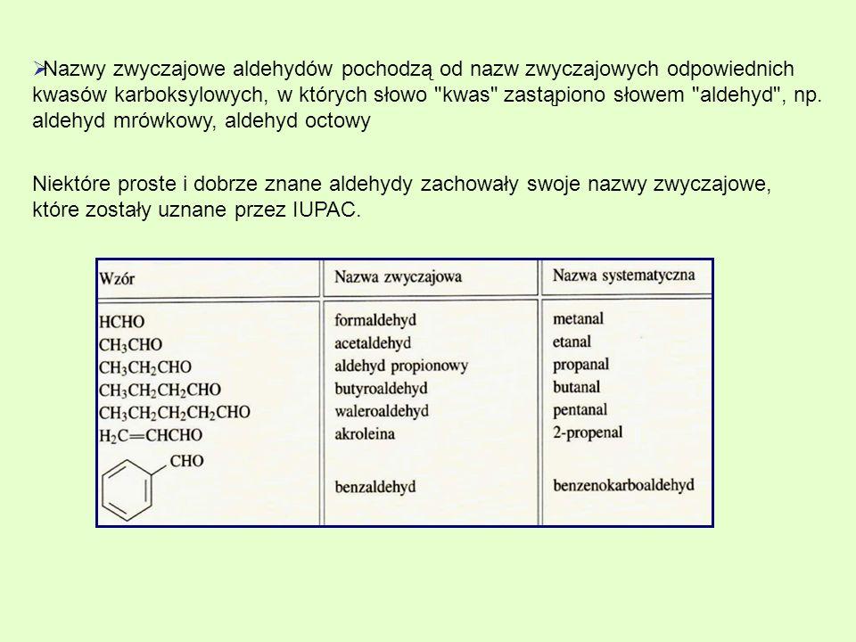 Niektóre proste i dobrze znane aldehydy zachowały swoje nazwy zwyczajowe, które zostały uznane przez IUPAC. Nazwy zwyczajowe aldehydów pochodzą od naz