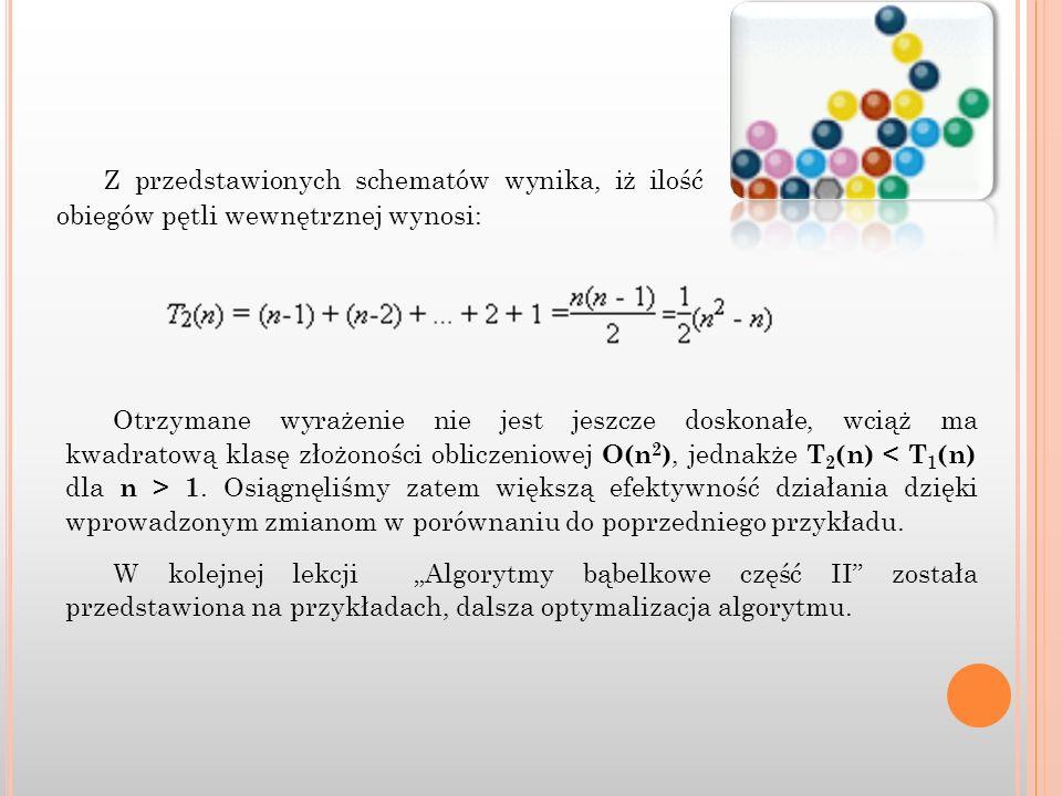 Z przedstawionych schematów wynika, iż ilość obiegów pętli wewnętrznej wynosi: Otrzymane wyrażenie nie jest jeszcze doskonałe, wciąż ma kwadratową kla