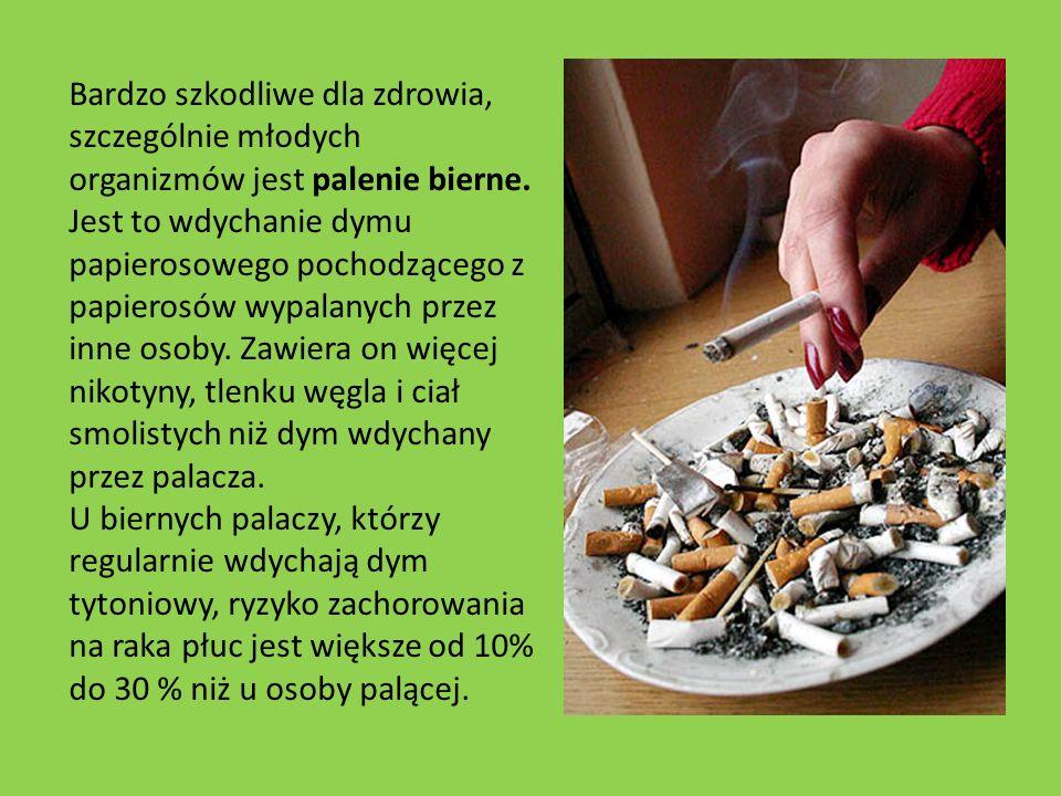 Bardzo szkodliwe dla zdrowia, szczególnie młodych organizmów jest palenie bierne. Jest to wdychanie dymu papierosowego pochodzącego z papierosów wypal
